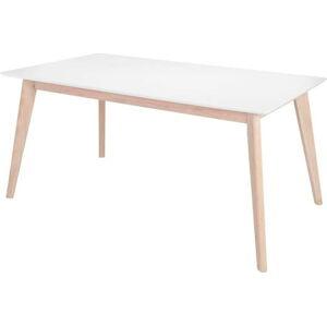 Bílý jídelní stůl s nohami z dubového dřeva Interstil Century, délka 160 cm