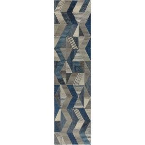 Modrý vlněný běhoun Flair Rugs Asher, 60 x 230 cm