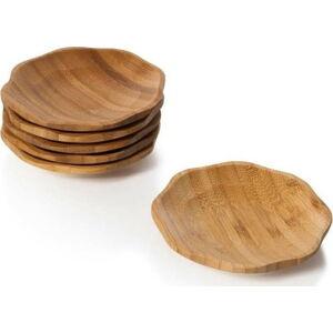 Sada 6 bambusových servírovacích tácků Bambum Pappi, ⌀ 11 cm