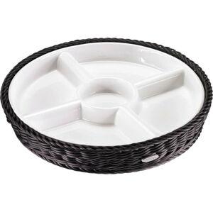 Porcelánová servírovací miska v černém košíku Saleen, ⌀ 28,5 cm