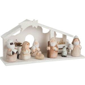 Bílá keramická vánoční dekorace J-Line Nativity