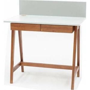 Bílý psací stůl s podnožím z jasanového dřeva Ragaba Luka Oak