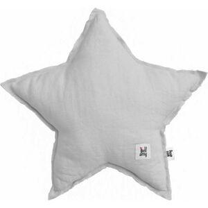 Šedý dětský lněný polštář ve tvaru hvězdy BELLAMY Stone Gray