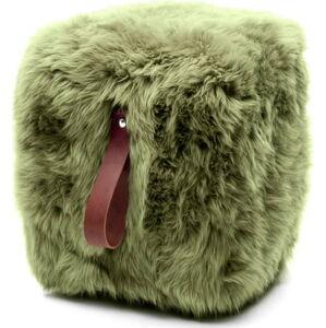 Olivově zelený hranatý puf z ovčí kožešiny s hnědým detailem Royal Dream, 45x45cm