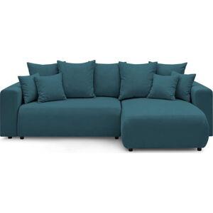 Modrá manšestrová rozkládací rohová oboustranná pohovka Bobochic Paris Envy