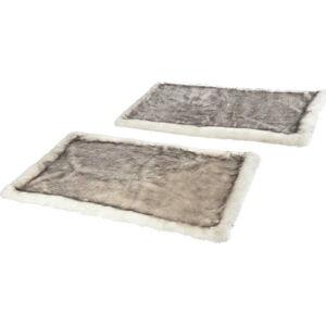 Sada 2 šedohnědých koberečků z umělé kožešiny k posteli Mint Rugs
