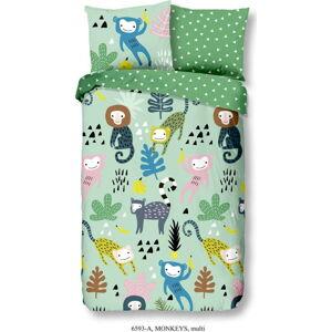 Dětské zelené povlečení z bavlny Good Morning Monkeys