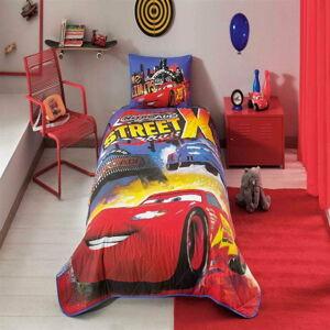 Set bavlněného přehozu přes postel a povlaku na polštář Disney Cars Nitroade, 160 x 220 cm