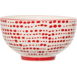 Červenobílá kameninová miska Bloomingville Joy, ⌀ 13,5 cm