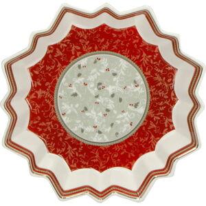 Porcelánový servírovací talíř s vánočním motivem Brandani Vassoio Stella Connubio, ⌀ 22 cm