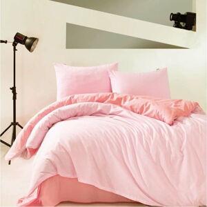 Růžové bavlněné povlečení s prostěradlem Marie Claire Suzy, 160x220cm