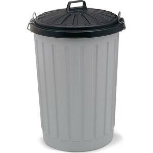Šedá plastová popelnice s černým víkem Addis, výška 71 cm