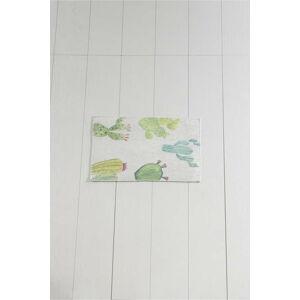 Bílo-zelená koupelnová předložka Tropica Cactus I, 60 x 40 cm