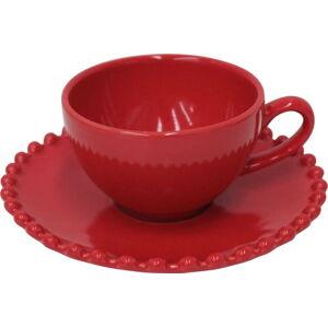 Rubínově červený kameninový šálek na espresso s podšálkem Costa Nova Pearlrubi, 70 ml