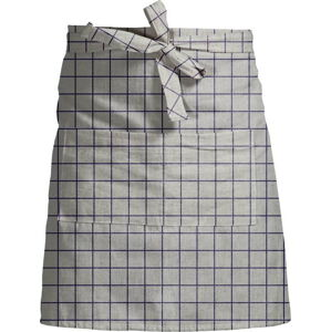 Šedě kostkovaná zástěra s příměsí lnu Linen Couture Delantal Simple Squares