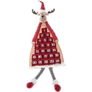 Červený textilní závěsný adventní kalendář ve tvaru soba Dakls, délka 110 cm