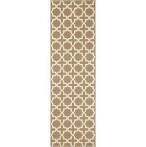 Hnědý běhoun s bílými detaily Hanse Home Joanne, 80x350cm