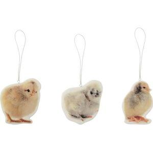 Sada 3 porcelánových dekorací Bloomingville Chickens