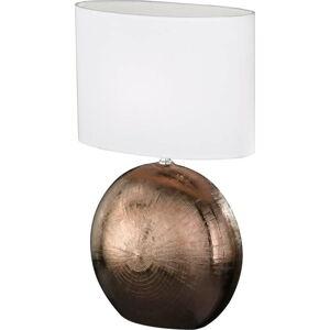 Bílo-hnědá stolní lampa Fischer & Honsel Foro,výška53cm