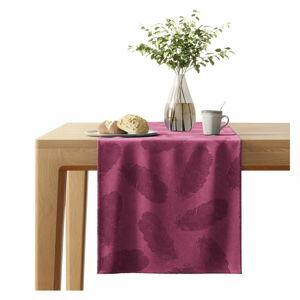 Červený běhoun na stůl se sametovým povrchem AmeliaHome Peacock,40x140cm