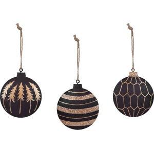 Sada 3 černých vánočních ozdob s detaily ve zlaté barvě Ego Dekor