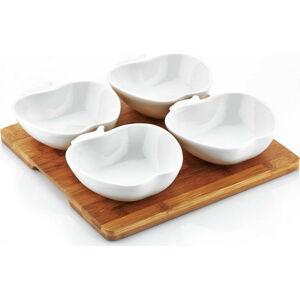 Set 4 porcelánových misek s táckem Elegance