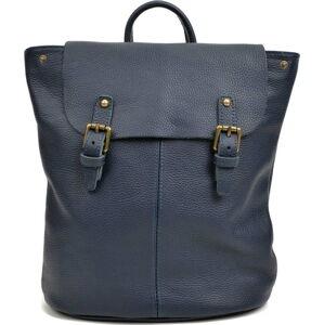 Tmavě modrý kožený batoh Roberta M