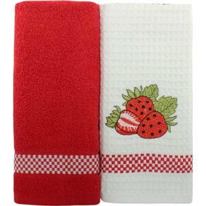 Sada 2 červeno-bílých ručníků z čisté bavlny, 45 x 70 cm