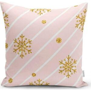 Vánoční povlak na polštář Minimalist Cushion Covers Gold Snowflakes,42x42cm