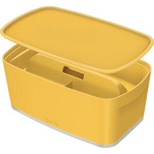 Žlutý úložný box s víkem a organizérem Leitz Cosy, objem 5 l