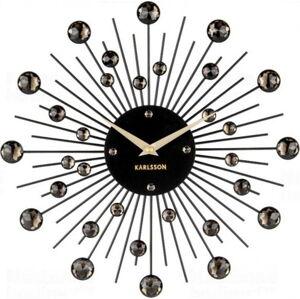 Nástěnné hodiny z krystalů černé barvy Karlsson Sunburst