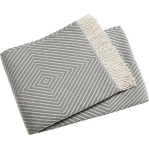 Světle šedý pléd s podílem bavlny Euromant Tebas, 140x180cm