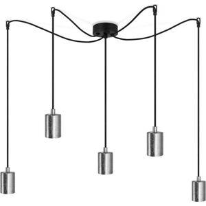 Černé závěsné svítidlo s 5 kabely a objímkami ve stříbrné barvě Bulb Attack Cero