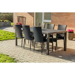 Set šedého zahradního nábytku se 6 židlemi osob Le Bonom Viking XL