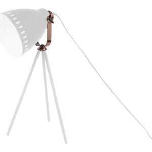 Bílá stolní lampa s detaily v měděné barvě Leitmotiv Mingle