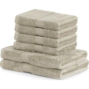 Set 2 béžových osušek a 4 ručníků DecoKing Bamby Beige