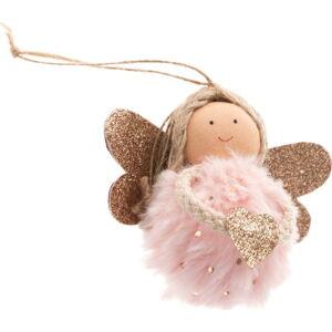 Světle růžová textilní závěsná ozdoba ve tvaru anděla Dakls, délka 9 cm
