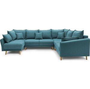 Tyrkysově modrá rozkládací rohová pohovka Bobochic Paris Mia XXL, levý roh