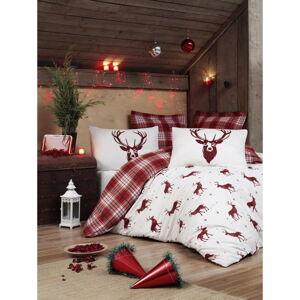 Povlečení s prostěradlem s příměsí bavlny na dvoulůžko Eponj Home Geyik Claret Red, 200 x 220 cm