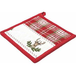 Červená bavlněná vánoční chňapka Villa d'Este Tartan,20x20cm