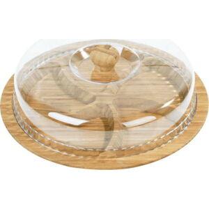 Bambusový podnos na snídani s poklopem Siglitiki, ø30cm