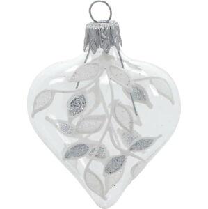 Sada 4 skleněných vánočních ozdob v bílo-stříbrné barvě Ego Dekor Heart