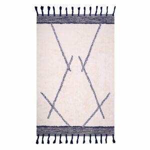Bílo-šedý bavlněný ručně vyrobený koberec Nattiot Shaanti,110x170cm