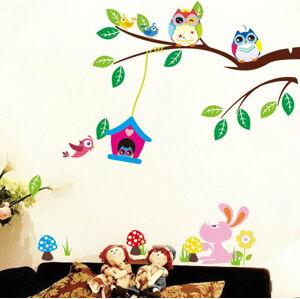 Sada nástěnných dětských samolepek Ambiance Owls and Bird Cage On Tree