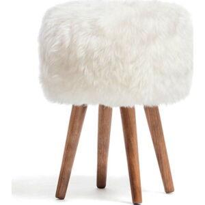 Stolička s bílým sedákem z ovčí kožešiny Royal Dream, ⌀30cm