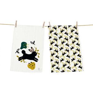 Set 2 kusů utěrek Butter Kings z bavlny Jumping Rabbit, 70 x 50 cm