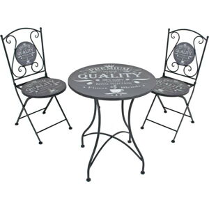 Set 2 šedých zahradních židlí a stolku ADDU Royal
