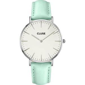 Dámské hodinky s koženým řemínkem a detaily ve stříbrné barvě Cluse La Bohéme