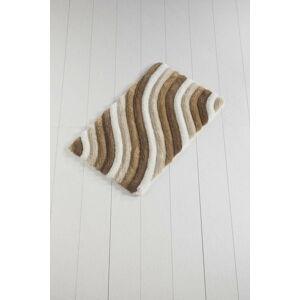 Hnědo-bílá koupelnová předložka Waves Trismo, 100 x 60 cm