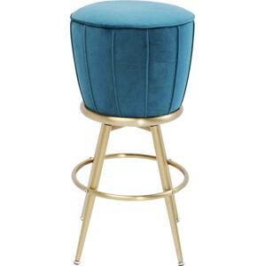 Modrá barová židle se sametovým čalouněním Kare Design After Work